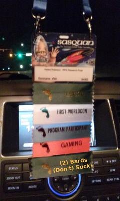 Hawke WorldCon 73 Badge 0819150208 plus 2 bards